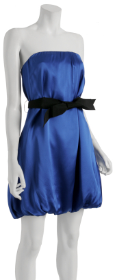 Wendy Katlen electric blue satin strapless bubble dress