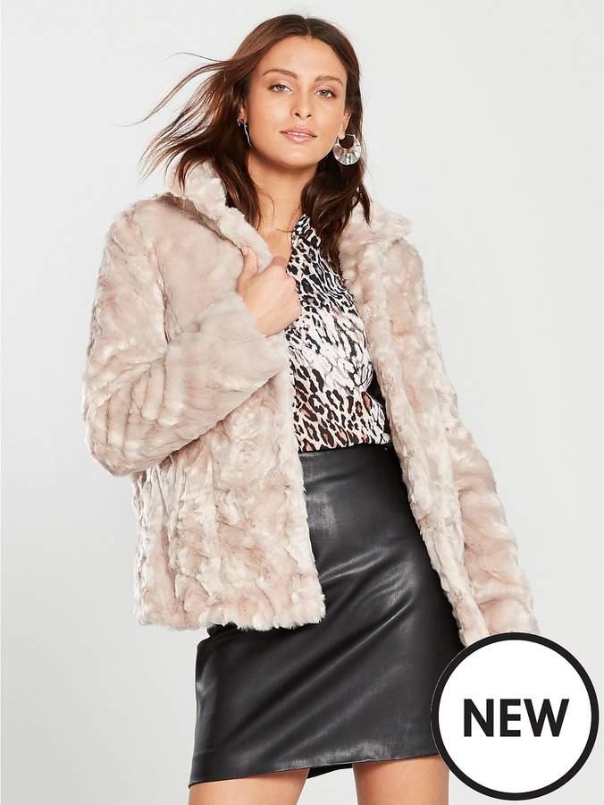 Crushed Faux Fur Short Jacket - Blonde