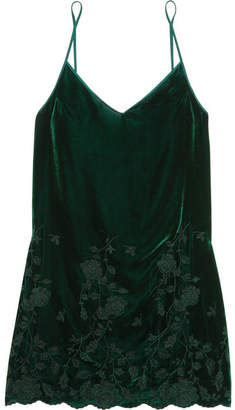 I.D. Sarrieri Nuits A Moscou Embroidered Velvet Chemise - Emerald
