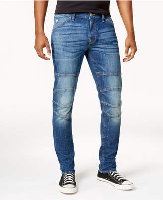 GUESS Men Slim-Fit Tapered Stretch Destroyed Moto Jeans