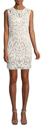 Tadashi Shoji Lace Appliqué Sheath Mini Dress