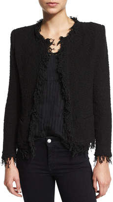 IRO Shavani Open-Front Boucle Jacket, Black