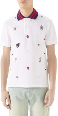 Gucci Embroidered Pique Polo