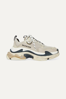 Balenciaga Triple S Logo-embroidered Leather, Nubuck And Mesh Sneakers - Beige