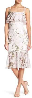 Rachel Roy Flounce Hem Printed Lace Midi Dress