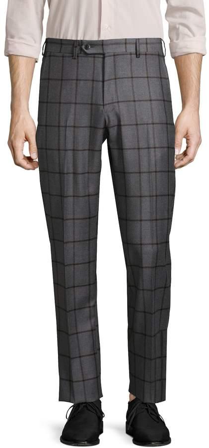 Lubiam Men's Plaid Wool Trousers