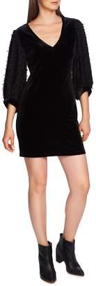 1 STATE 1.STATE Contrast Sleeve Velvet Dress