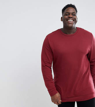 Asos DESIGN Plus Longline Sweatshirt In Burgundy