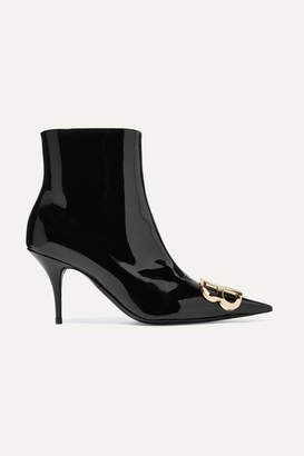 Balenciaga Knife Logo-embellished Patent-leather Ankle Boots - Black