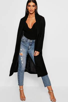 boohoo Collared Edge To Edge Wool Look Coat