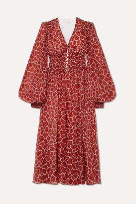 Caroline Constas Syros Smocked Printed Silk-chiffon Midi Dress - Brick
