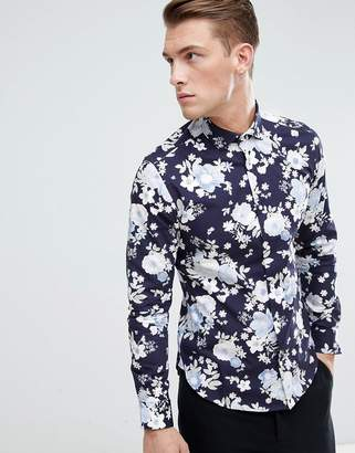 Moss Bros Extra Slim Shirt In Navy With Floral Print