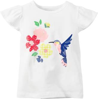 Carter's Baby Girls Hummingbird Flutter-Sleeve Tee White 3M