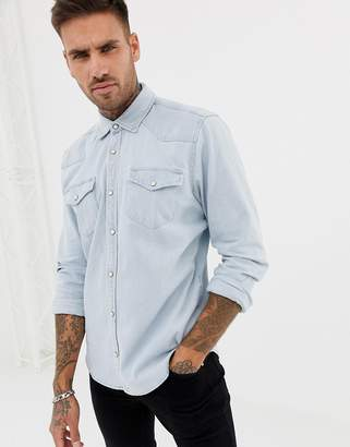 Pull&Bear denim western style shirt in blue