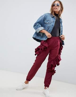 Asos Design DESIGN ruffle joggers in burgundy