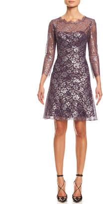 Carolina Herrera 3/4-Sleeve Metallic Lace-Print Cocktail Dress, Silver/Red