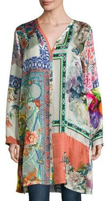 Johnny Was Biorla Long-Sleeve Button-Front Floral Tunic, Multi $255 thestylecure.com