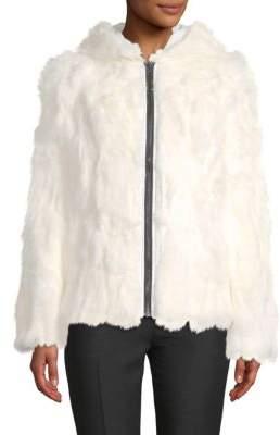 Adrienne Landau Reversible Rabbit Fur Zip-Front Coat