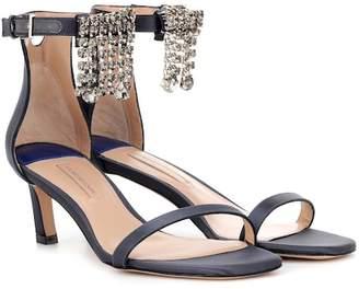 Stuart Weitzman Fringe Square Nudist 45 sandals