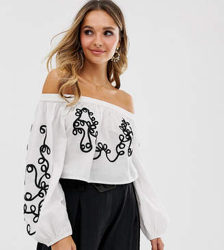 Violet Skye embroidered off shoulder top with balloon sleeves in cream