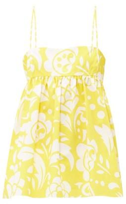Raey Empire Waist Hippy Floral Print Cotton Cami Top - Womens - Yellow Print