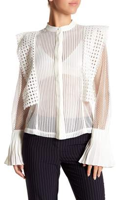 Gracia Sheer Pleated Cuff Blouse