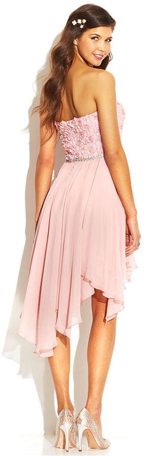 As U Wish Juniors' Strapless Rosette High-Low Dress