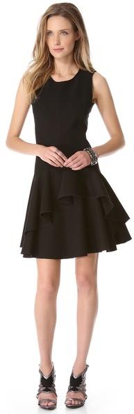 Halston Scoop Neck Ruffle Dress