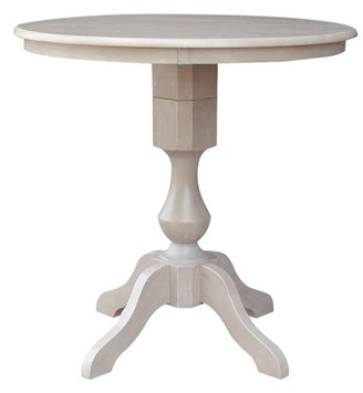 """INC International Concepts 36"""" x 36"""" Solid Wood Round Pedestal Dining Table in Washed Gray Taupe"""