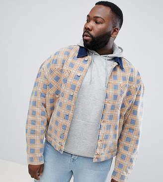Asos Design DESIGN Plus checked oversized denim jacket in orange