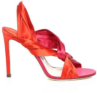 Jimmy Choo LALIA 100 Chilli Mix Satin Heels with Intertwined Upper