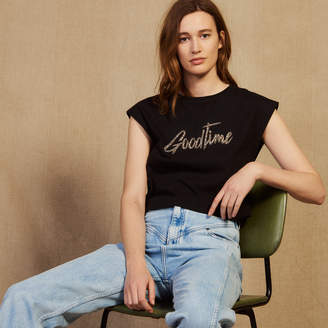 Sandro Cropped T-Shirt With Beaded Lettering