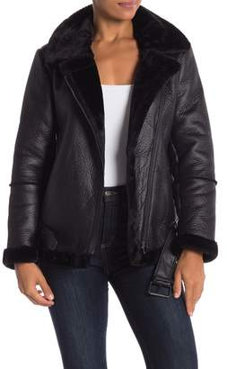 Sebby Faux Shearling Collar Moto Jacket