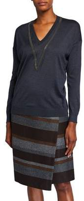 Brunello Cucinelli Cashmere Silk Monili-Beaded Sweater