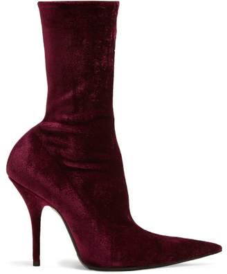 Balenciaga Velvet Sock Boots - Womens - Burgundy
