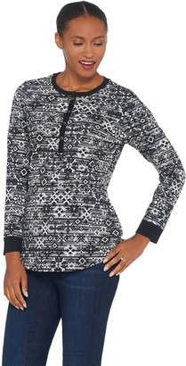 Denim & Co. Printed Perfect Jersey Long-Sleeve Henley Top