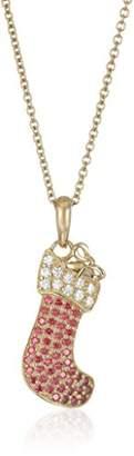 Swarovski Yellow Gold-Plated Zirconia Stocking Christmas Pendant Necklace