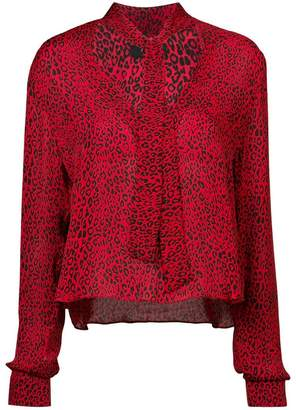 Amiri tie neck leopard print blouse
