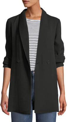 Eileen Fisher Long-Sleeve One-Button Double-Breasted Silk Sponge Blazer