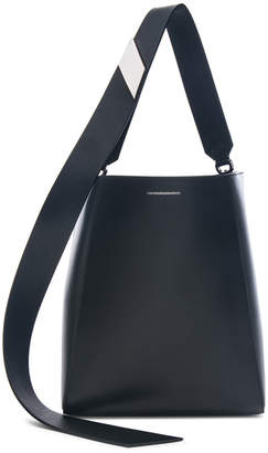 Calvin Klein Luxe Calf Leather Stripe Link Bucket Bag