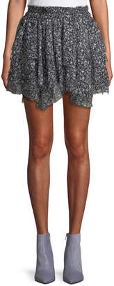 LoveShackFancy Tiered Ruffle Stars Silk Mini Skirt