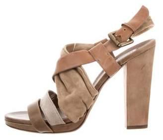 Brunello Cucinelli Suede High Heels Sandals brown Suede High Heels Sandals