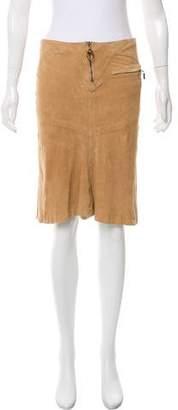 Just Cavalli Suede Knee-Length Skirt