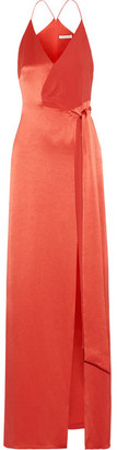 Halston Heritage - Wrap-effect Crepe-paneled Satin Gown - Brick $495 thestylecure.com
