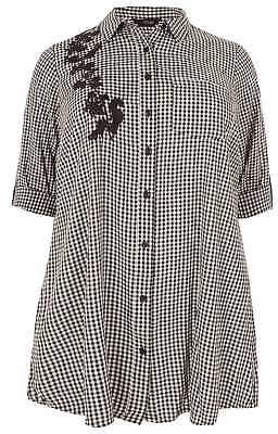 Yours Clothing Women's Plus Size Black & White Gingham Boyfriend Shirt With Embroidery