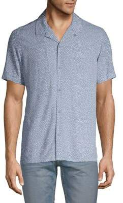 Pure Navy Printed Button-Down Shirt