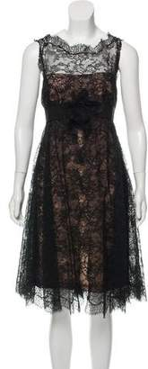 Marchesa Sleeveless Lace Midi Dress