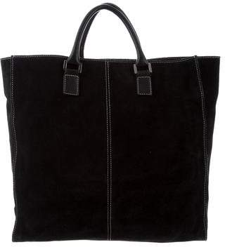 Lambertson Truex Leather-Trimmed Suede Tote