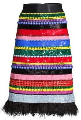 Alice + Olivia (アリス オリビア) - Alice + Olivia Alice + Olivia Women's Merril Embellished Beaded Midi Skirt - Size 0