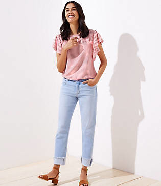 LOFT Petite Frayed Flip Cuff Boyfriend Jeans in Light Indigo